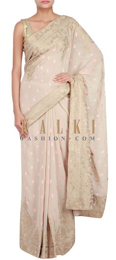 Buy Online from the link below. We ship worldwide (Free Shipping over US$100) http://www.kalkifashion.com/beige-saree-embellished-in-resham-and-zari-embroidery-only-on-kalki-14779.html