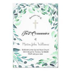 greenery watercolor first communion invitation   Zazzle.com