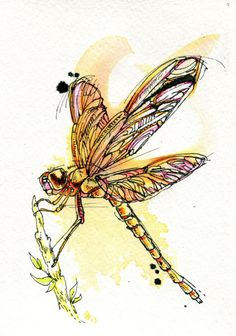 Dragonfly by Abby Diamond Dragonfly Wall Art, Dragonfly Tattoo, Butterfly Art, Dragonfly Drawing, Dragonfly Insect, Butterflies, Dragonfly Illustration, Insect Art, Diamond Art