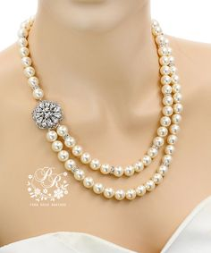 Wedding Necklace Double strands Swarovski Pearl by PureRainDesigns