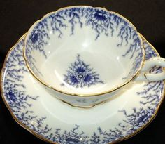 Coalport COBALT BLUE TRES CHIC Transfer simplyTclub Tea cup and saucer