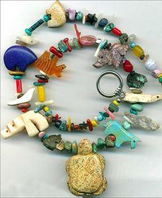 Southwest Animal Fetish Necklace~Turquoise~Turtles~Horse~Zuni Bears~Amber~Bird