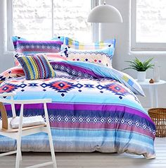 Cliab Tribal Bedding for Teens Aztec Bedding Exotic Blue Purple Red Duvet Cover Set 100% Cotton 4 Pieces Cliab http://www.amazon.com/dp/B01668CA66/ref=cm_sw_r_pi_dp_kUc8wb08Y6DFM