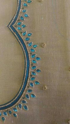 Simple Embroidery Designs, Kurti Embroidery Design, Bead Embroidery Patterns, Creative Embroidery, Cutwork Blouse Designs, Saree Blouse Neck Designs, Simple Blouse Designs, Simple Designs, Hand Embroidery Dress