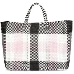 Truss Large Checked Tote (775 PLN) ❤ liked on Polyvore featuring bags, handbags, tote bags, pink, pink tote, plastic totes, tote handbags, handbags totes and plastic purse