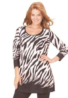 Woman Within Plus Size Animal print knit tunic $14.99 - $19.99