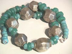 African coin silver and turquoise Kankamba bead necklace marie ange von son 62