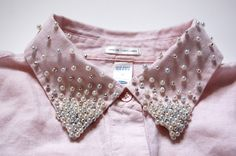 Learn how to embellish a shirt collar with pearls