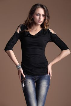 Black Rivet Off The Shoulder Round Neck Half Sleeve T Shirt
