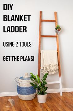 Easy DIY Blanket Ladder Tutorial with plans. Make this easy modern rustic farmhouse blanket storage ladder with the plans! #anikasdiylife #woodworking