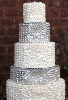 A Five-Tier Silver and White Wedding Cake - Wedding Cake