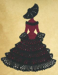 Items similar to 0535 Spanish Senorita Crinoline Girl Doily Crochet Pattern on Etsy Free Crochet Doily Patterns, Crochet Motif, Crochet Dollies, Easter Crochet, Crochet Gratis, Filet Crochet, Thread Crochet, Crochet Yarn, Double Crochet Decrease