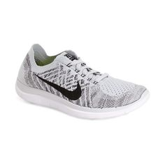 Nike 'Free 4.0 Flyknit' Running Shoe ($120) ❤ liked on Polyvore featuring shoes, athletic shoes, running shoes, rubber sole shoes, knit shoes, nike footwear and athletic running shoes