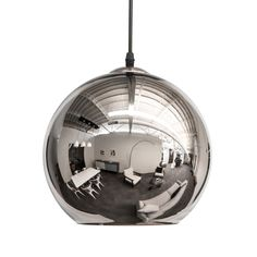 Inspired by mid-century modern design, these chic lights provide glamorous illumination in any space. Inside, each glass sphere is lined with metal to create a mirror finish, reflecting light for added...  Find the Glass Pendant Lamp in Chrome, as seen in the Industrial Iridescence Collection at http://dotandbo.com/collections/industrial-iridescence?utm_source=pinterest&utm_medium=organic&db_sku=DBI9014-chr