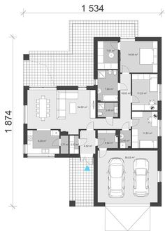 Projekt domu uA65 120,70 m² - koszt budowy - EXTRADOM Dream House Exterior, Dream House Plans, House On Stilts, Modern House Design, Future House, Planer, Building A House, Floor Plans, How To Plan