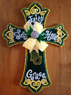 Baylor 16 Hand Painted Wooden Cross by MaddielouAndMe on Etsy, $42.00