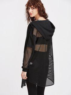 Black Fishnet Insert Zip Up Hoodie