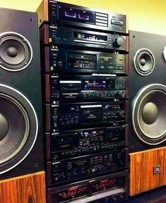 Home Theater Sound System, Home Theatre Sound, Hi Fi System, Audio System, Hifi Audio, Stereo Speakers, Kenwood Audio, Retro, Audio Rack