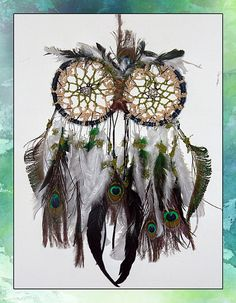 Handmade Owl Double Dreamcatcher by ScarletCircus on Etsy, $50.00