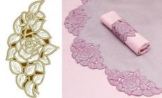 Advanced embroidery rose lace in gold and pink