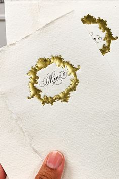 Introducing out new printing technique at Babooche Calligraphy. We have created an embossed crest with gold foil on handmade paper. This would make a perfect addition to any type of stationery - and we will be using this everywhere! Calligraphy Wedding Place Cards, Calligraphy Envelope, Gold Calligraphy, Wedding Cards, Bespoke Wedding Invitations, Wedding Invitation Design, Wedding Stationery, Gold Foil, Menu