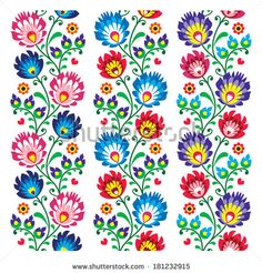 Seamless traditional folk polish pattern - seamless embroidery stripes, wzory lowickie by RedKoala #print #poland #łowicz