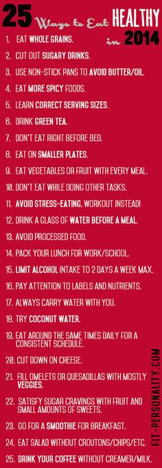 Ways to Eat Healthy in 2014 - FitPersonality
