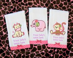 Personalized baby girl burp cloths safari giraffe 3000 via personalized baby girl burp cloth 3 jungle animal to choose from elegant baby gift safari burpcloth monogrammed cloth diaper for girls negle