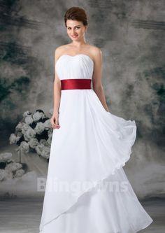Ruched Chiffon A-line Sleeveless Sweetheart Zipper  Floor Length White Wedding Dresses