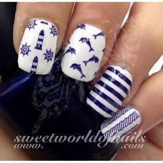 Nautical Nail Art Dolphins Lighthouse Blue stripes Water Full Wraps water decals on a clear water transfer which can be applied over any color varnish on either your natural or false nail. Nautical Nail Designs, Nautical Nail Art, Beach Nail Designs, Nail Art Designs, Nails Design, Dolphin Nails, Square Oval Nails, Palm Tree Nail Art, Cruise Nails