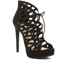 Jessica Simpson Akana Caged Dress Sandal ($50) ❤ liked on Polyvore featuring shoes, sandals, black, platform dress sandals, black caged sandals, open toe sandals, lace up sandals and black lace up sandals