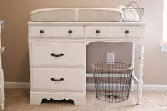 Really would like to do this with the small desk I have. Change table and baby storage