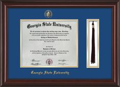 GSU Diploma Frame-Mah Lacquer-w/GSU Seal-Tassel-Royal Blue on Gold mat – Professional Framing Company