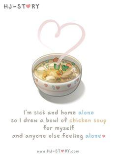 HJ-Story :: Estou doente e sozinha em casa, então eu faço uma tigela de sopa de galinha para mim e nãome sinto mais sozinha
