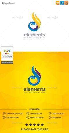 Fire Water Logo - Nature Logo Template PSD, Vector EPS, Vector AI. Download here: http://graphicriver.net/item/fire-water-logo/16470617?s_rank=762&ref=yinkira