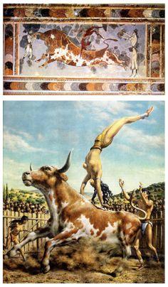Fresco del Santo del Toro en el palacio de Knossos, con una reconstrucción muy plástica. Taurocatapsia