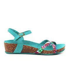 Look at this #zulilyfind! Turquoise Kim Wedge Sandal #zulilyfinds