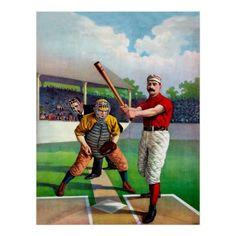 Baseball match game vintage sport poster - vintage gifts retro ideas cyo