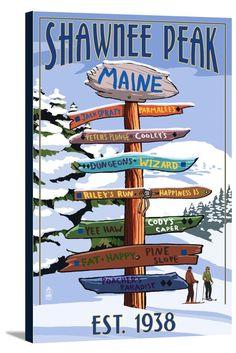 Canvas (Shawnee Peak, Maine - Ski Destinations Sign - Lantern Press Artwork)
