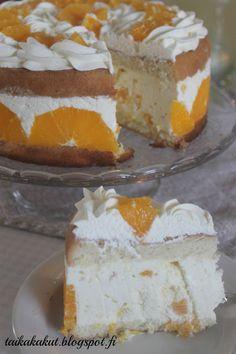 Tarun Taikakakut: Appelsiinirahkakakku (24-26cm) Gluten Free Recipes, Baking Recipes, Dessert Recipes, Desserts, Finnish Recipes, Sweet Pastries, Let Them Eat Cake, Yummy Cakes, No Bake Cake