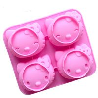 1PCS Diy Cartoon KT Cake Model 4 Holes 2 Expression Cute Cat Mold Food Grade Silicone Cake Mold Hand Soap Mold