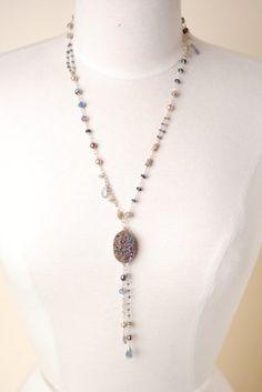 Smit008N unique handcrafted designer pearl czech glass fluorite amethyst ruby chrysophase aquamarine labradorite sterling silver druzi pendant tassel necklace for women