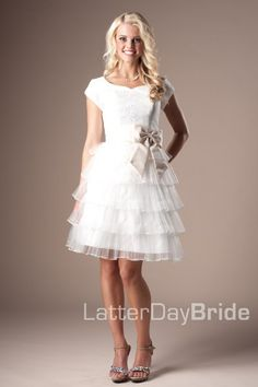 modest homecoming gowns in SLC, the Brendee in ivory and champagne with ruffled skirt and lace