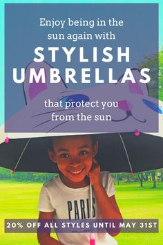 Finally, your precious ones can have fun in the sun or the rain while also protecting their skin with these cute umbrellas for kids! Get your kids umbrella with UV protection as well as all Womens umbrellas designs for 20% off during May on Amazon.com! #kids umbrella #umbrella photography #kids photography #girlsumbrella #travelgear #uvumbrella #uvprotection #uvblocker #paraguasparaninos #kidsumbrella