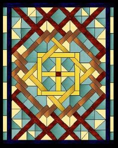 Stained glass  [ I'd like to do a stained glass floor, like this pattern. Set in thin-set with sandless grout I think it would be pretty. Either the glass or colored tile cut like this . . .  I'll have to make a sample. ]