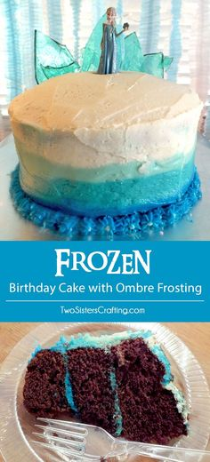 We loved our Frozen Birthday Cake with Ombre Frosting and the birthday girl loved the hard candy frozen fractal ice castle decoration on the top. Frozen Castle Cake, Frozen Birthday Cake, Birthday Cakes For Women, Frozen Cake, Frozen Party, 4th Birthday, Birthday Ideas, Cakes To Make, How To Make Cake