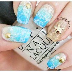 Cute Summer Nails - #summernails #nailart #summernails #oceannails #shells #oceanwater #beachnails #beach  - bellashoot.com