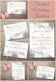 Wedding Invitation DIY, Succulent Wedding Invitations,Watercolor Floral Wedding Stationery, Pink Gray and Ivory Wedding Invitations, Romantic, elegant Boho Wedding Invitation set with 3 cards, which can be bought separately or as a set. For more bohemian inspired invites, check the following link: tranquillina.etsy.com