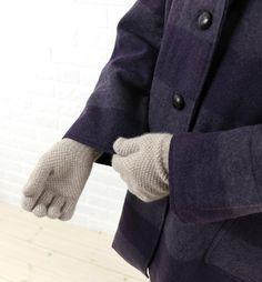 GLEN GORDONアンゴラ混 ウール 鹿の子編み  手袋 ニットグローブ Gloves, Blue