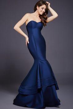 Navy Sweetheart Neck Mermaid Dress 37897
